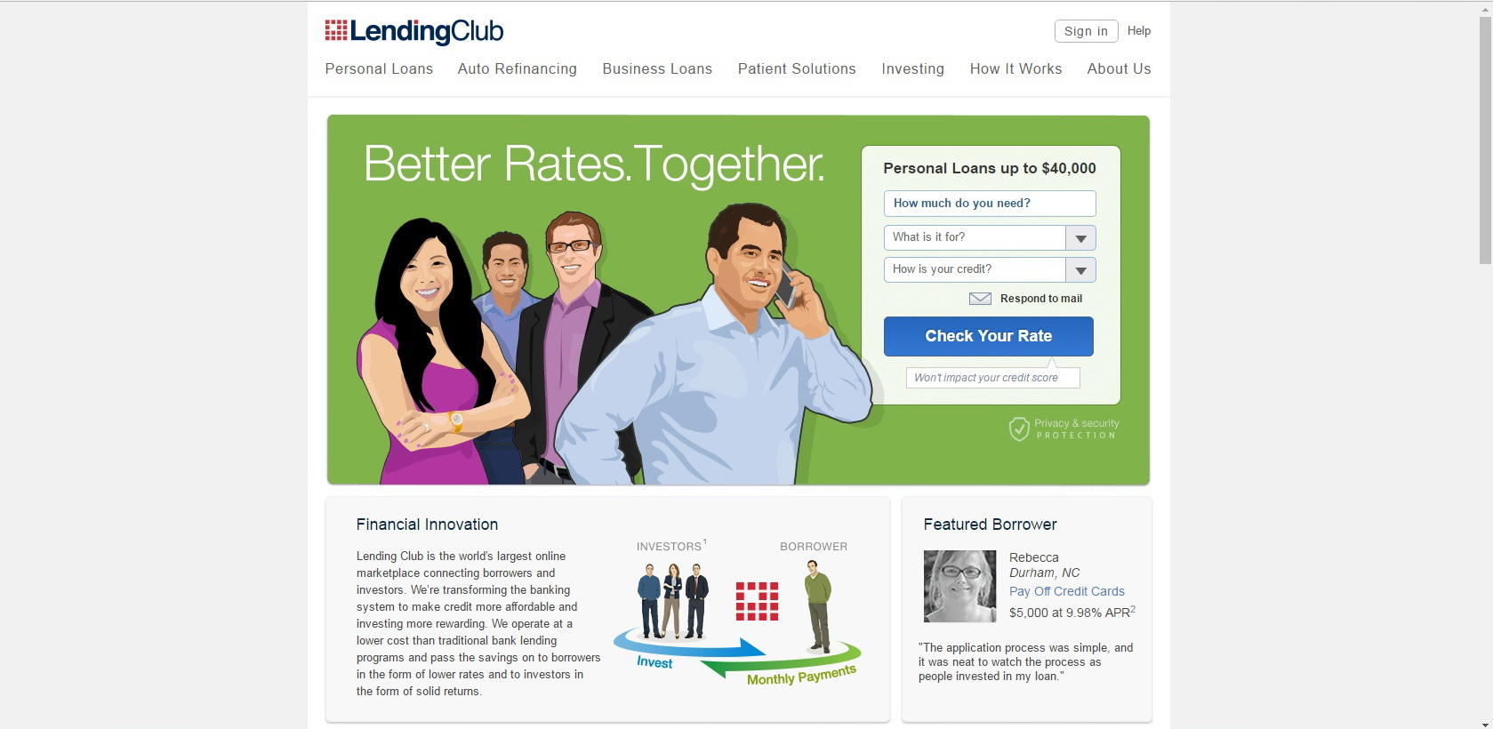 LendingClub Corporation Website Screenshot