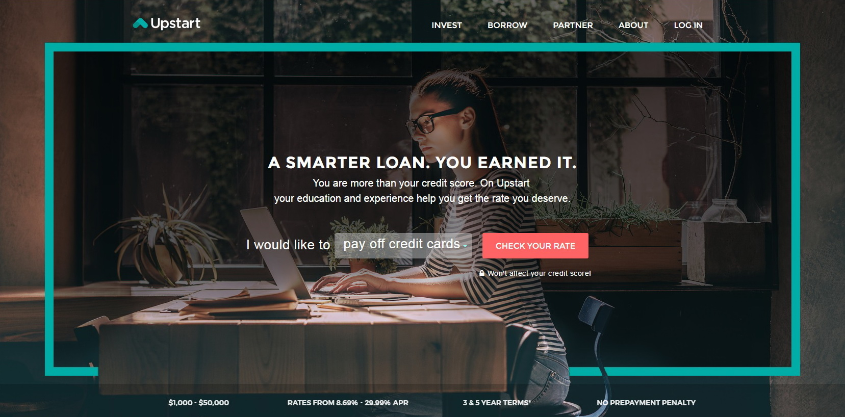 Upstart Personal Loans Website Screenshot