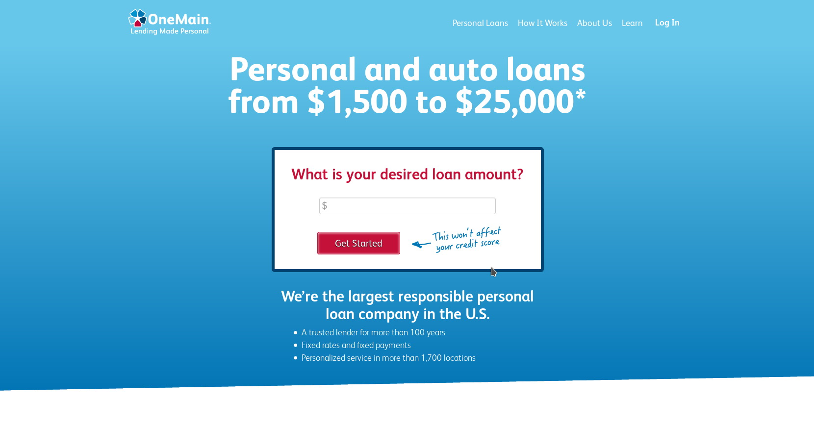 OneMain Financial Website Screenshot